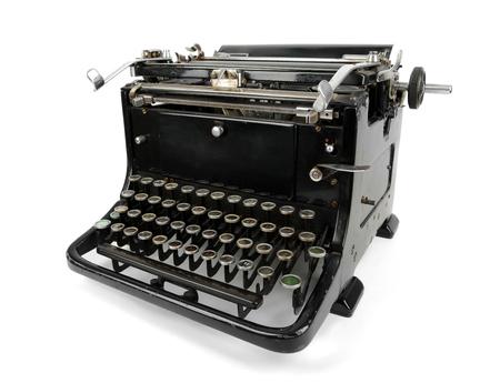 steel sheet: Old typewriter isolated on white