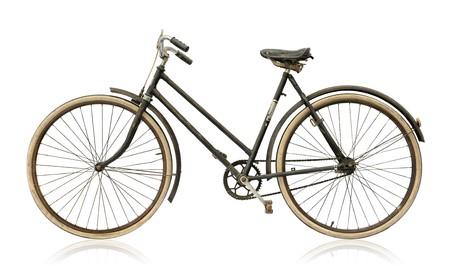 De fiets van oude vrouwen die op witte achtergrond wordt geïsoleerd.