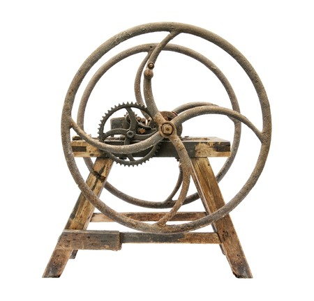 Old wooden chaff cutter isolated on white background Stock Photo