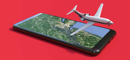 Commercial airplane flying over a smartphone