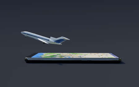 Airplane leaving the screen of the smartphone, simulating the ease of booking flights online