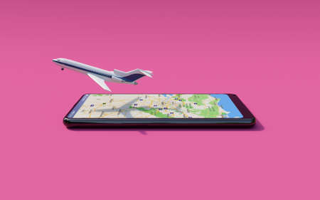 Commercial airplane taking off from the smartphone screen (Online ticket reservation)