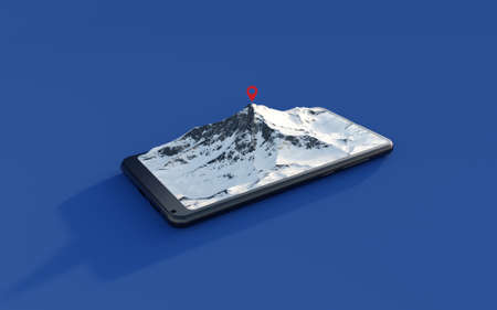 Snowy mountain coming out of smartphone screen