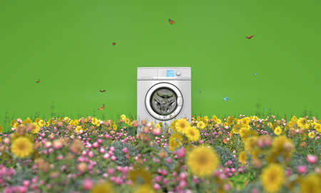 Washing machine between flowers and butterflies, good smell, natural, freshness