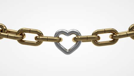 Lien doré en forme de coeur, chaîne en argent