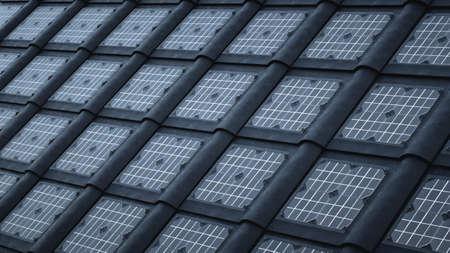 Dark solar tiles, roof that generates energy Banco de Imagens