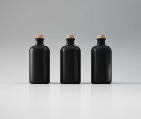 Three black bottles
