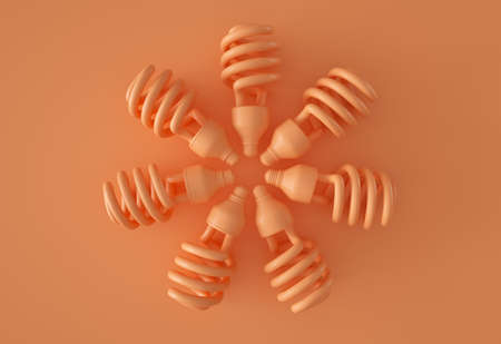 Wheel of orange light bulbs 写真素材