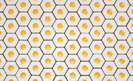Hexagonal pattern made with fried eggs Reklamní fotografie
