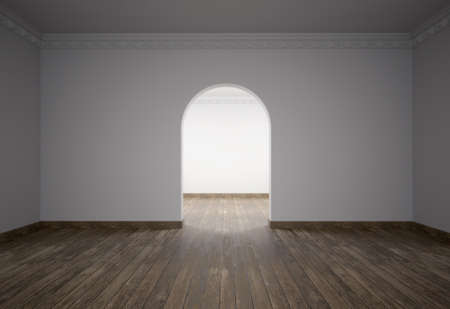 Empty living room, wooden floor, ornamental moldings