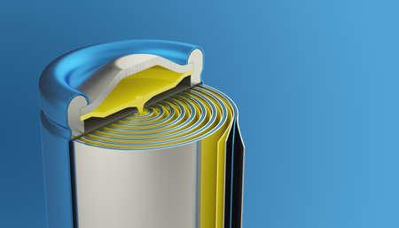 Vue intérieure de la pile au lithium