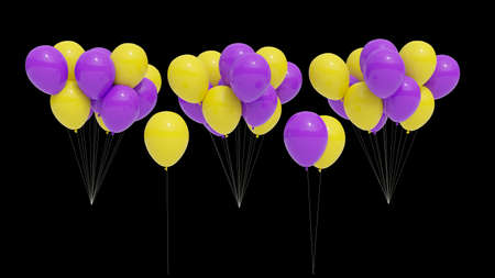 Many purple and yellow balloons on black background for easy deletion. Stok Fotoğraf