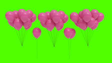 Bouquets of cut out pink balloons with green chroma key background. Celebration resources.