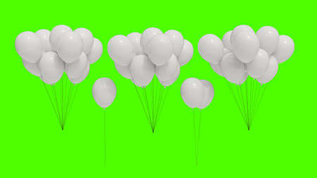 White balloons with green background to cut out. Stok Fotoğraf