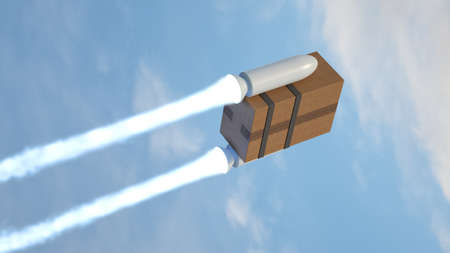 Rocket driving an online order. Packaged cardboard box traveling by the sky.
