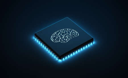 Microchip emanating blue neon light with brain illuminated on the surface.