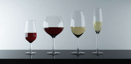Various types of glasses to drink red wine, white and pink wine.