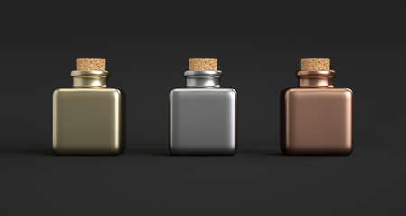 Three square metallic jars with a cork stopper. Dark background
