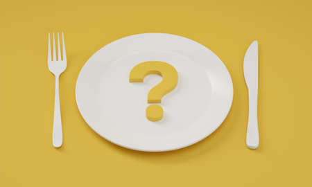 What do we eat today? Question mark on plate with cutlery on the sides. 3D Illustration.