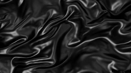 Metallic black creased silk fabric for background.