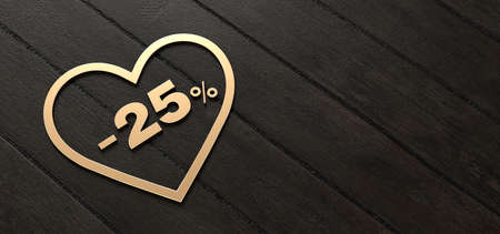 Golden heart on wood, Valentine's day, offer 25% discount