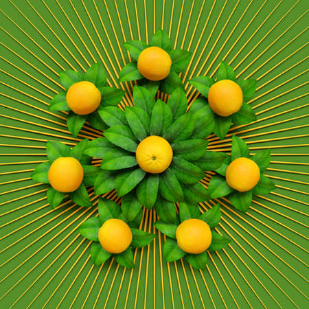 Graphic for advertising juice or orange soda. Geometric circular pattern on green and orange leaves.