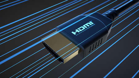 HDMI connector with information light on dark background. #2