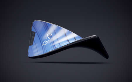 Folded phone. Smartphone with folding screen. Stock Photo