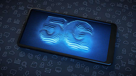 5G high-speed technology in smartphones. Illuminated screen with blue neon.