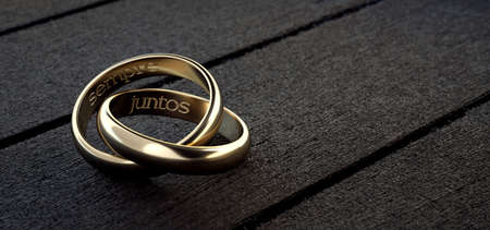 Two wedding rings intertwined with phrase always together in Spanish