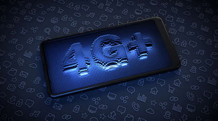 4G + technology, high speed on your smartphone. Holographic word on the screen of the mobile.
