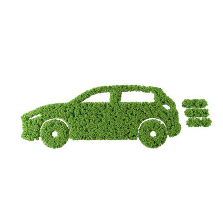 Electric car grass icon on white background. Banque d'images - 137782789