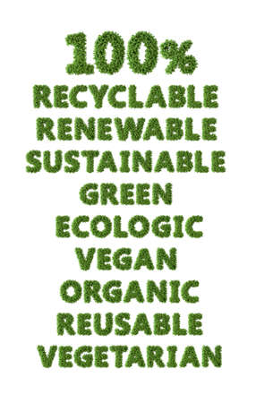 Grass word pack: recyclable, renewable, sustainable, green, ecologic, vegan, organic, reusable.