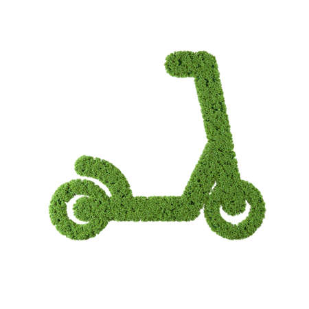 Electric scooter grass icon on white background.