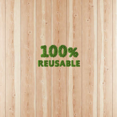 100 hundred percent Reusable image formed by vegetation and wood.