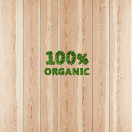 100 hundred percent Organic image formed by vegetation and wood. Stok Fotoğraf