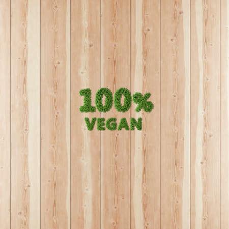 100 hundred percent Vegan image formed by vegetation and wood.