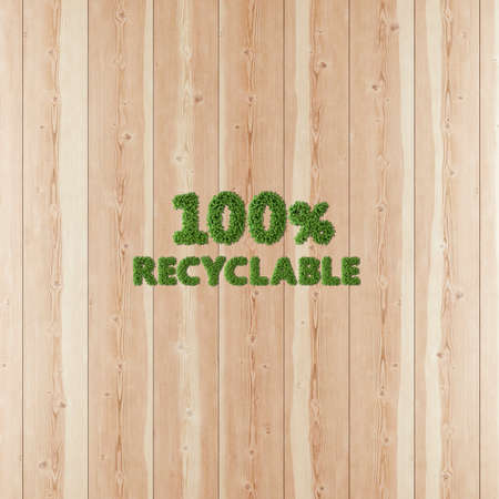 100 one hundred by one hundred Recyclable image formed by vegetation and wood.