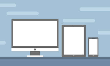 Template Set of All Screen Device Preview for Website Preview in Flat Design Vector Illustration isolated in blue background Illustration