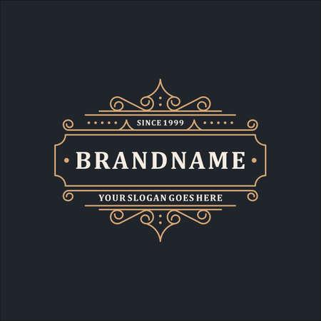 Plantilla de logotipo de lujo Elegante línea de adornos para restaurante, realeza, boutique, café, hotel, heráldica, joyería, moda y otra ilustración vectorial