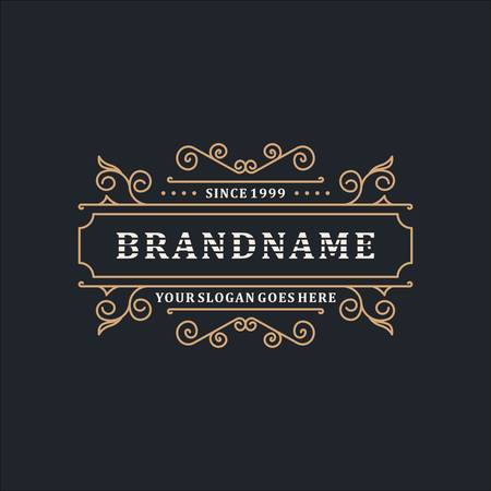 Luxury Logo Template Elegant Ornament Line for Restaurant, Royalty, Boutique, Cafe, Hotel, Heraldic, Jewelry, Fashion and other vector illustration Фото со стока - 131908104