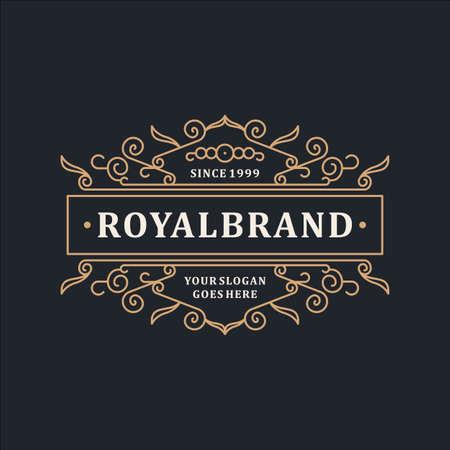 Luksusowy szablon logo Elegancka ozdoba do restauracji, Royalty, Boutique, Cafe, Hotel, Heraldic, Jewelry, Fashion i innych ilustracji wektorowych