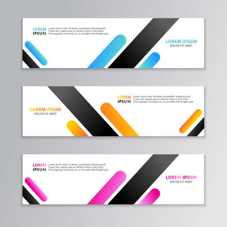 Business Banner Template, Layout Background Design, Corporate Geometric web header or footer in gradient color Vector