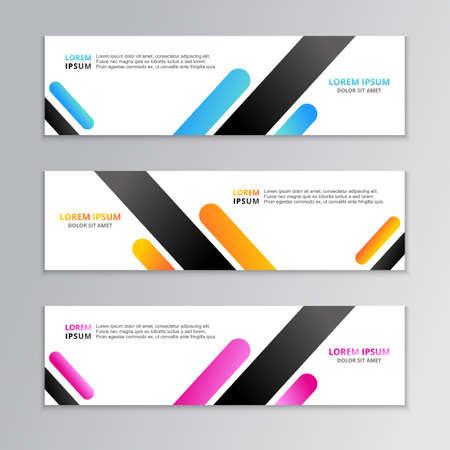 Zakelijke bannersjabloon, lay-outachtergrondontwerp, bedrijfsgeometrische webkoptekst of -voettekst in verloopkleur
