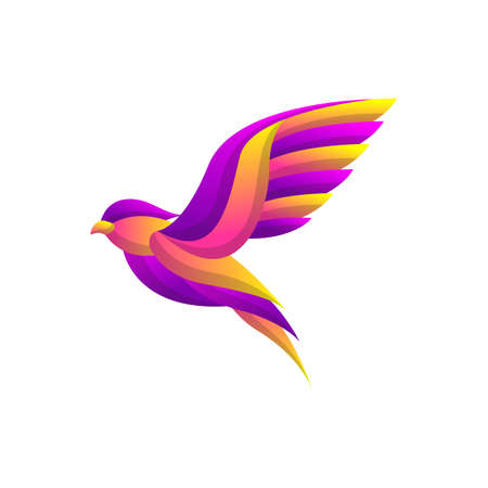Bird Logo Concept with Colorful Gradient style, elegant modern design, for company corporate vector template Stock Illustratie