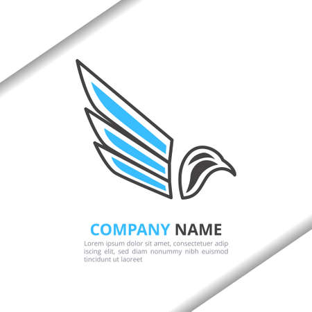 Bird and Wing Logo Design Concept, simple modern for your brand, animal shop, company, corporate vector template Stock Illustratie