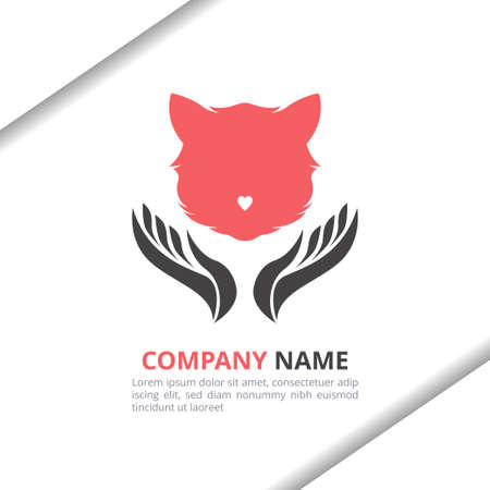 Cat love and hand logo design concept with flat style for animal shop, pet care, brand identity vector template