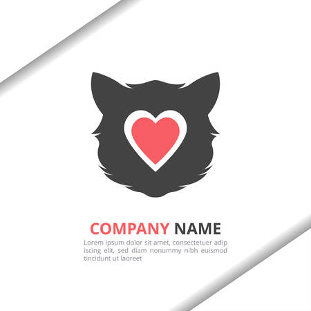 Cat love logo design concept with flat style for animal shop, pet care, brand identity vector template Stock Illustratie
