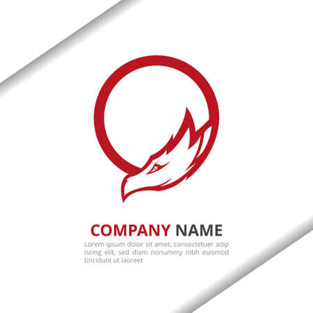 Dragon head Logo Design Concept, for your company or brand identity in red and black color vector template