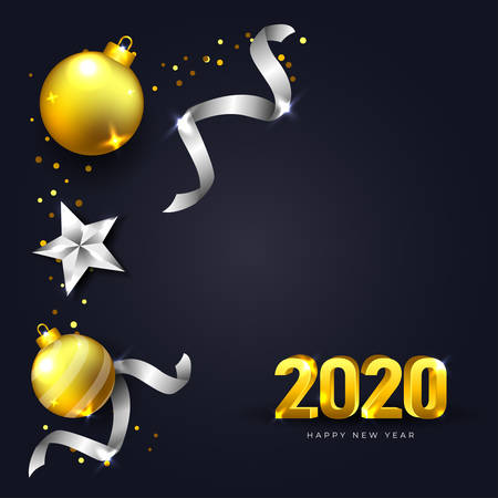 Happy New Year 2020 Greeting Card with dark background and realistic christmas decoration in gold and silver color vector illustration Stock Illustratie